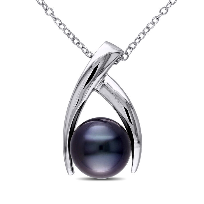 """9.5-10mm Black Cultured Tahitian Pearl Pendant Necklace in Sterling Silver. 18"""", , default"""
