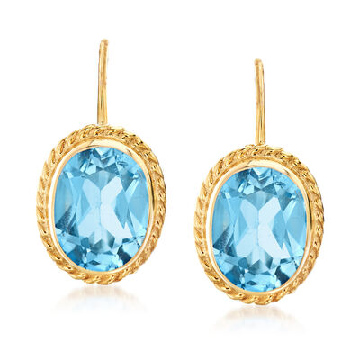 3.20 ct. t.w. Swiss Blue Topaz Oval Drop Earrings in 14kt Yellow Gold