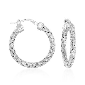 "Charles Garnier ""Milan"" Sterling Silver Small Hoop Earrings. 1"", , default"