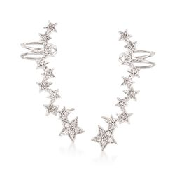 .27 ct. t.w. Diamond Star Ear Crawlers in Sterling Silver, , default
