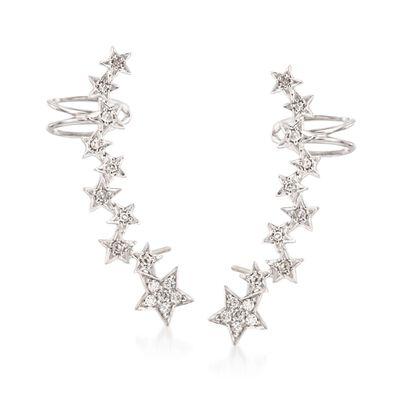 .27 ct. t.w. Diamond Star Ear Crawlers in Sterling Silver, , default