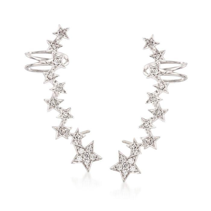 .27 ct. t.w. Diamond Star Ear Crawlers in Sterling Silver , , default