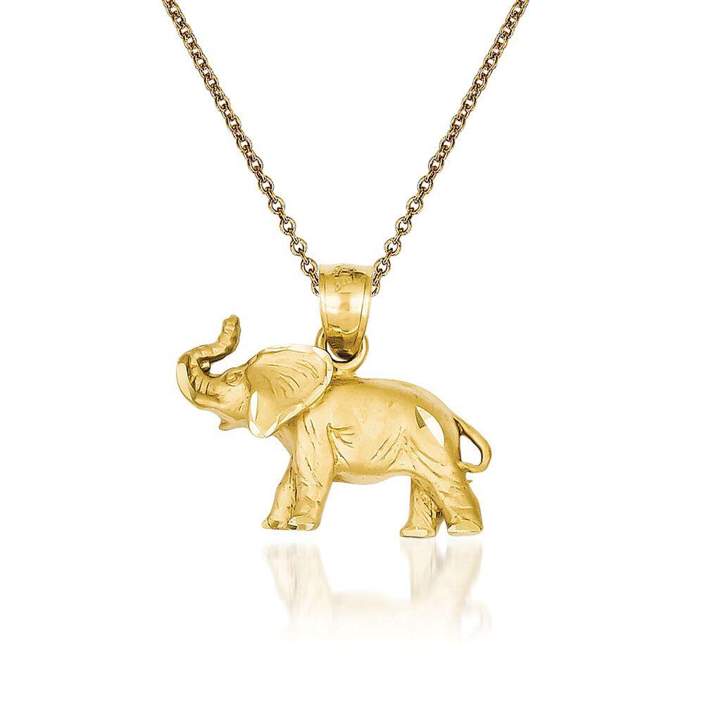 14kt yellow gold elephant pendant necklace 18 ross simons 14kt yellow gold elephant pendant necklace 18quot default aloadofball Gallery