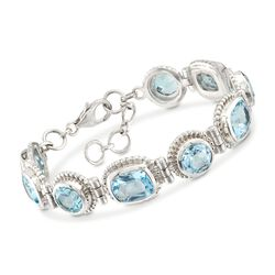 "26.00 ct. t.w. Blue Topaz Beaded Bracelet in Sterling Silver. 7"", , default"