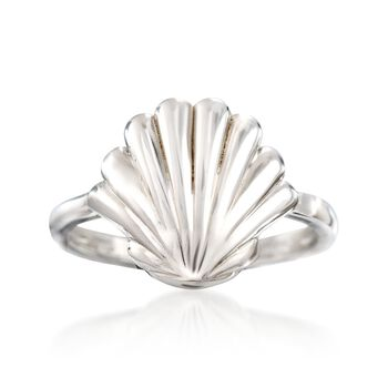 Sterling Silver Seashell Ring, , default