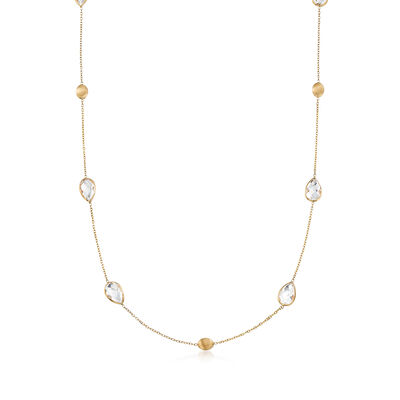 12x8mm Rock Crystal Beaded Necklace in 14kt Yellow Gold, , default