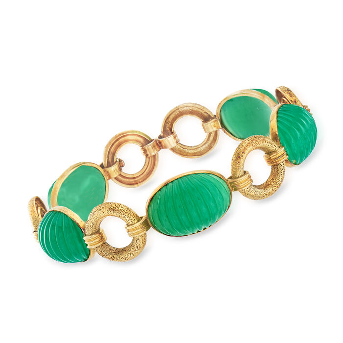 C. 1960 Vintage Green Chalcedony Bracelet in 14kt Yellow Gold. 8.25""