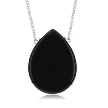 "Pear-Shaped Black Onyx Necklace in Sterling Silver. 18"", , default"
