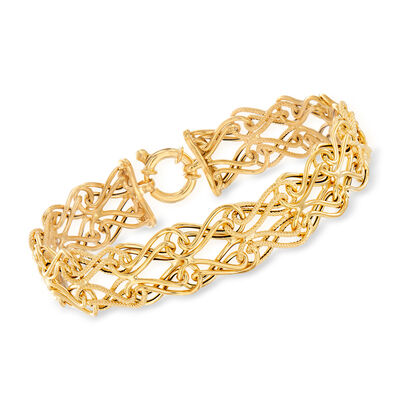 Italian 14kt Yellow Gold Double-Row Link Bracelet