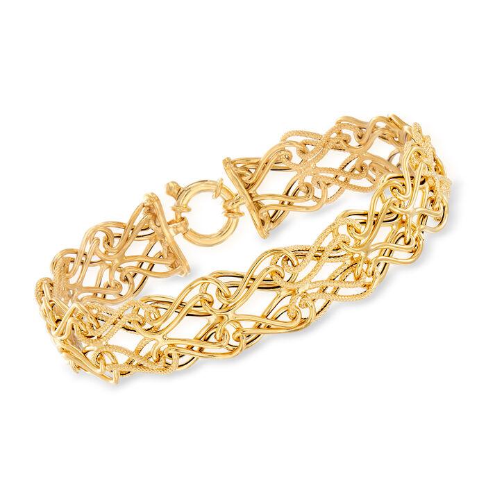 Italian 14kt Yellow Gold Double-Row Link Bracelet