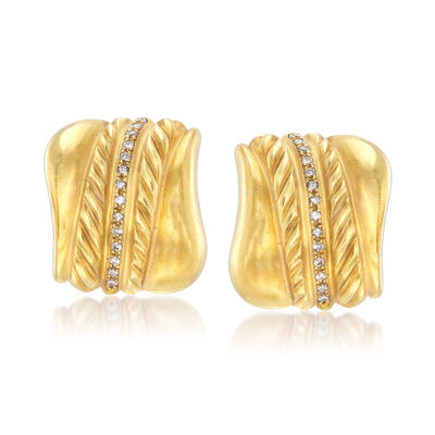 C. 1980 Vintage .60 ct. t.w. Diamond Earrings in 18kt Yellow Gold