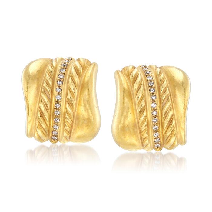 C. 1980 Vintage .60 ct. t.w. Diamond Earrings in 18kt Yellow Gold