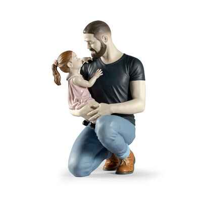 Lladro Father and Child Porcelain Figurine: in Daddy's Arms
