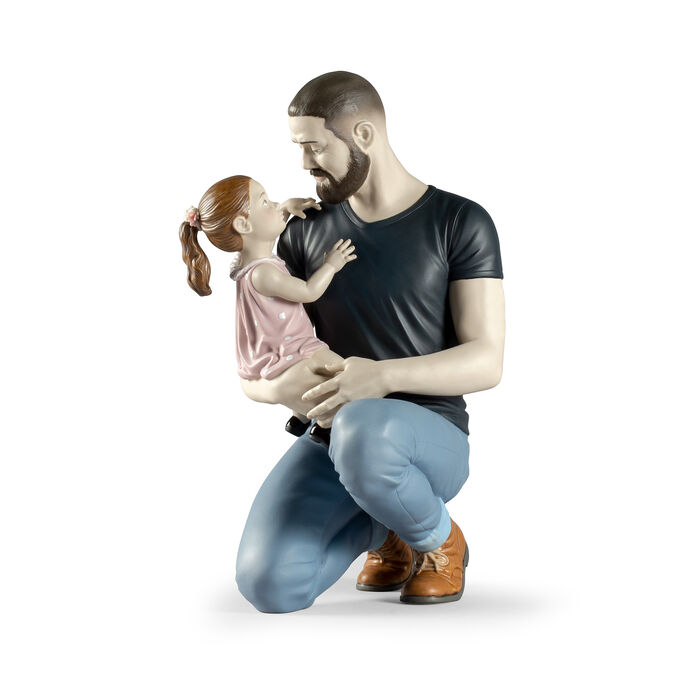 Lladro Father and Child Porcelain Figurine: in Daddy's Arms, , default