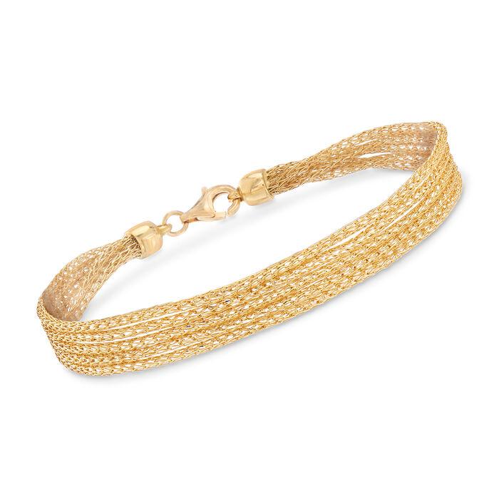 Italian 18kt Yellow Gold Mesh Bracelet, , default