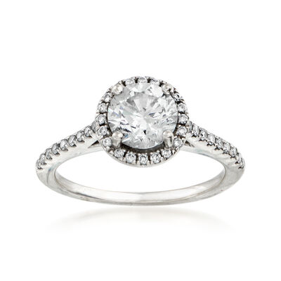 C. 2000 Vintage 1.30 ct. t.w. Diamond Halo Ring in 18kt White Gold