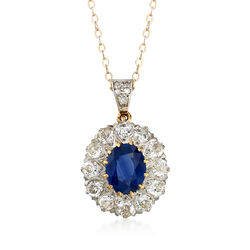 C. 1970 Vintage 1.68 Carat Sapphire and 1.25 ct. t.w. Diamond Pendant Necklace in 14kt Yellow Gold , , default