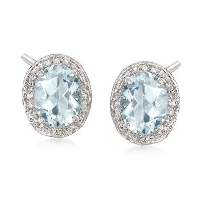 1.75 ct. t.w. Aquamarine Earrings With Diamond Accents in Sterling Silver, , default