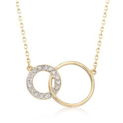 ".25 ct. t.w. Diamond and 14kt Yellow Gold Interlocking Open Circles Necklace. 18"", , default"