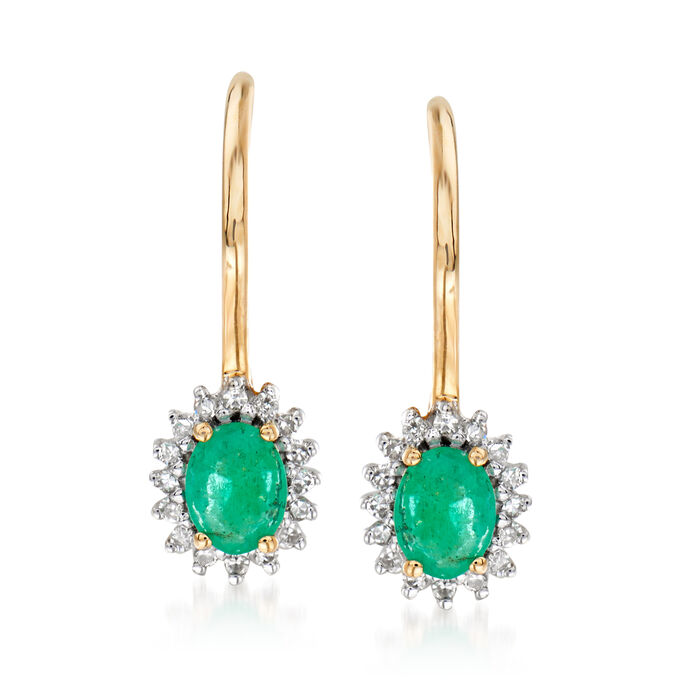 .20 ct. t.w. Emerald Drop Earrings with Diamond Accents in 14kt Yellow Gold