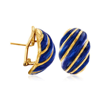 C. 1980 Vintage 18kt Yellow Gold and Blue Enamel Earrings