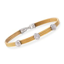 "ALOR ""Classique"" .14 ct. t.w. Diamond Triple-Station Yellow Cable Bracelet With 18kt White Gold. 7"", , default"