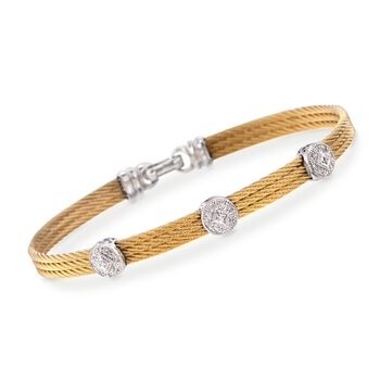 """ALOR """"Classique"""" .14 ct. t.w. Diamond Triple-Station Yellow Cable Bracelet With 18kt White Gold. 7"""", , default"""