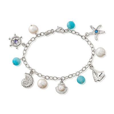 5-10mm Cultured Pearl and .70 ct. t.w. Multi-Gemstone Sea Life Charm Bracelet in Sterling Silver