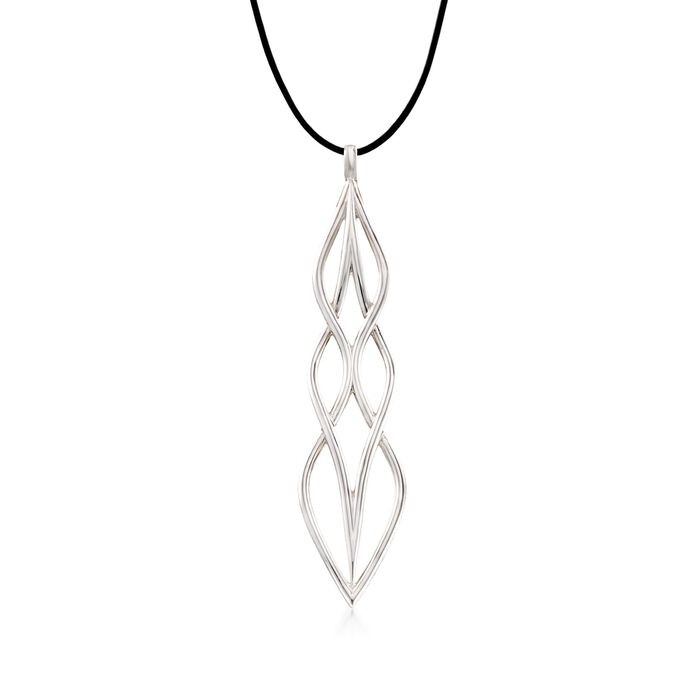 """Zina Sterling Silver """"Wired"""" Pendant Necklace With Black Leather Cord. 17"""", , default"""
