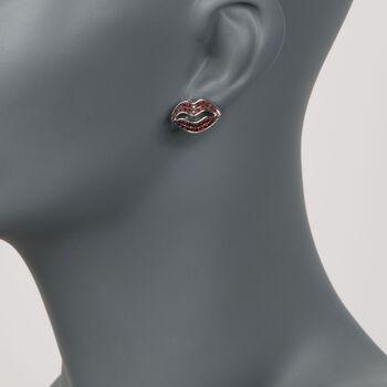 1.00 ct. t.w. Red Zircon Lips Earrings in Sterling Silver, , default