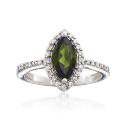 C. 2000 Vintage .75 Carat Green Tourmaline and .25 ct. t.w. Diamond Ring in 14kt White Gold. Size 6.75, , default