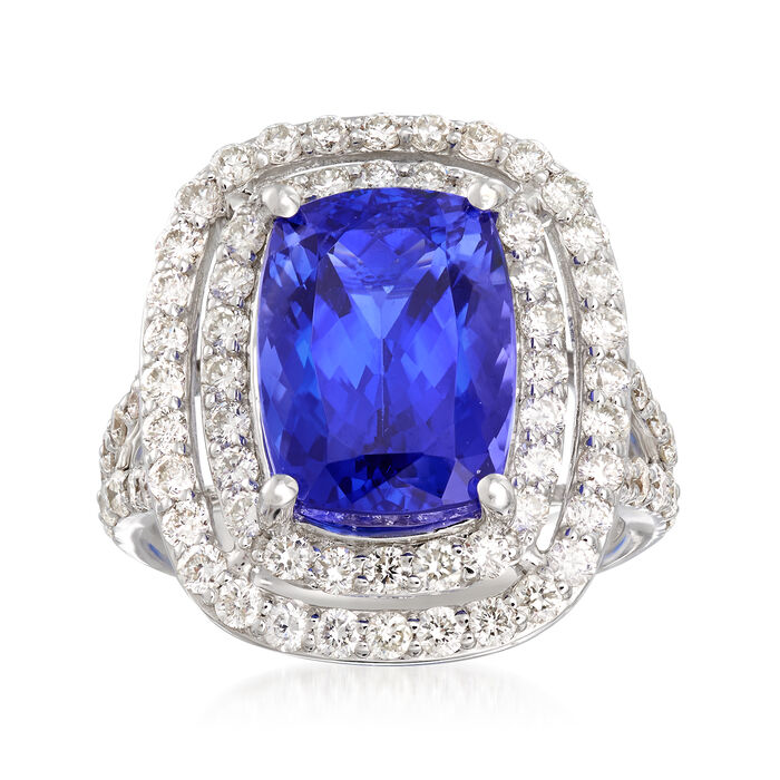 7.50 Carat Tanzanite and 1.60 ct. t.w. Diamond Ring in 14kt White Gold, , default