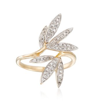 .33 ct. t.w. Diamond Leaf Ring in 14kt Yellow Gold, , default