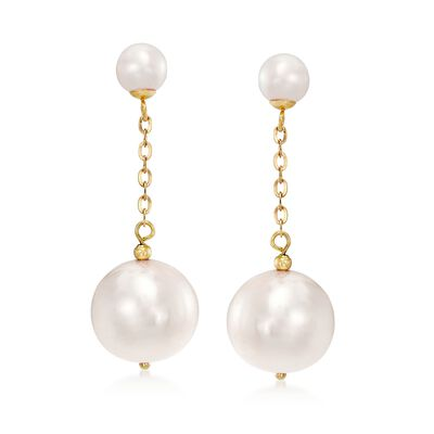 5.5-13mm Cultured Pearl Drop Earrings with 18kt Yellow Gold, , default