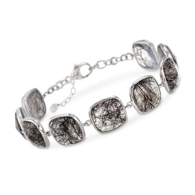 40.00 ct. t.w. Tourmalinated Quartz Station Bracelet in Sterling Silver, , default