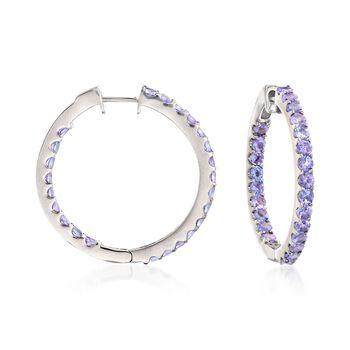 """3.30 ct. t.w. Tanzanite Inside-Outside Hoop Earrings in Sterling Silver. 1"""", , default"""