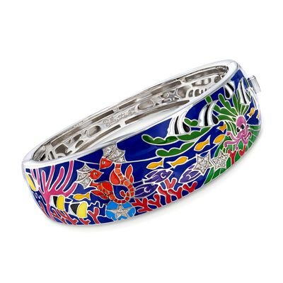 "Belle Etoile ""Seahorse"" Multicolored Enamel and .10 ct. t.w. CZ Bangle Bracelet in Sterling Silver, , default"