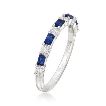 Gregg Ruth .50 ct. t.w. Baguette Sapphire and .33 ct. t.w. Diamond Ring in 18kt White Gold