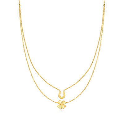 14kt Yellow Gold Good Luck Layered Necklace