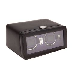 """Windsor"" Black and Purple Double Watch Winder With Cover by Wolf Designs, , default"