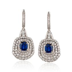 C. 2000 Vintage 2.50 ct. t.w. Sapphire and 2.90 ct. t.w. Diamond Drop Hoop Earrings in 18kt White Gold, , default