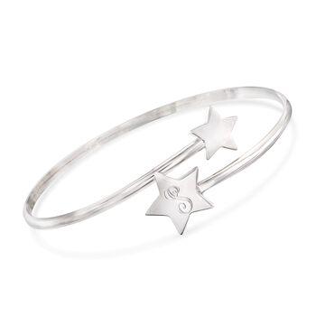 "Italian Sterling Silver Single Initial Star Bypass Bangle Bracelet. 8"", , default"