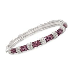 "1.40 ct. t.w. Purple Rhodolite Bangle Bracelet in Sterling Silver. 7"", , default"