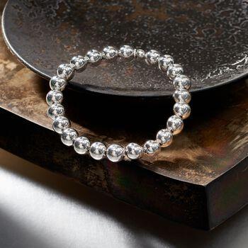 Italian 8mm Sterling Silver Bead Stretch Bracelet