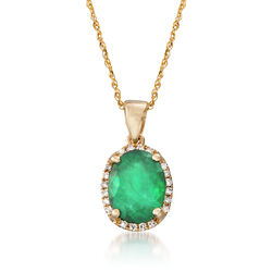 "1.70 Carat Emerald Pendant Necklace With Diamond Accents in 14kt Yellow Gold. 18"", , default"