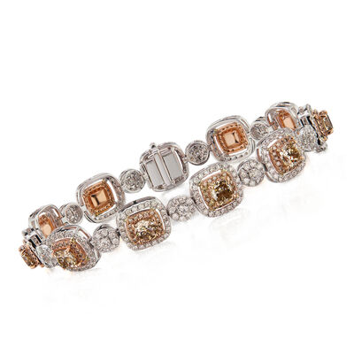 9.00 ct. t.w. Brown and White Diamond Bracelet in 18kt Two-Tone Gold