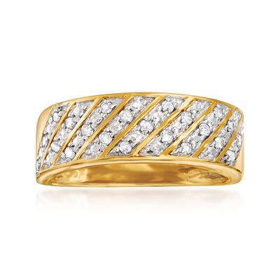 .25 ct. t.w. Diamond Diagonal-Row Ring in 18kt Gold Over Sterling, , default