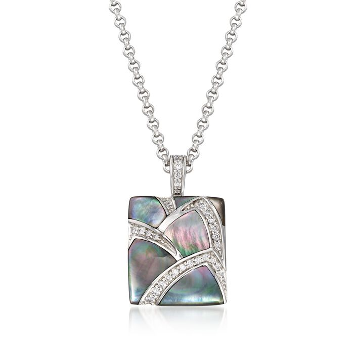"""Belle Etoile """"Sirena"""" Black Mother-Of-Pearl and .30 ct. t.w. CZ Pendant in Sterling Silver"""