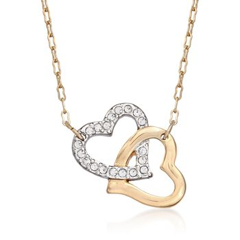 "Swarovski Crystal ""Match"" Crystal Heart Pendant Necklace in Two-Tone. 15"", , default"