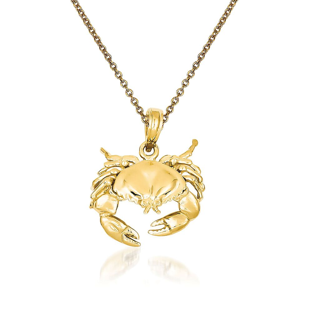 31208ab5cfb 14kt Yellow Gold Crab Pendant Necklace. 18 quot